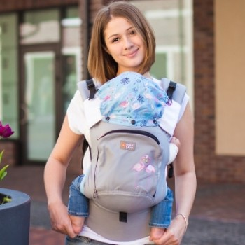 AIR ergonomic baby carrier - Pink Flamingos SALE